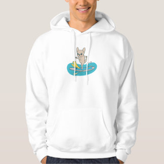 Frenchie doing yoga on stand-up paddle board hoodie