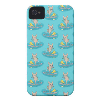 Frenchie doing yoga on stand-up paddle board iPhone 4 Case-Mate case