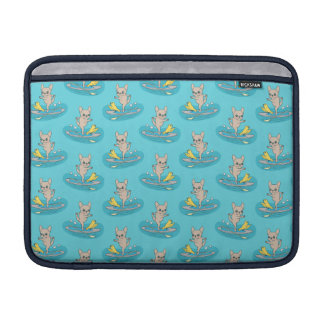 Frenchie doing yoga on stand-up paddle board MacBook sleeve