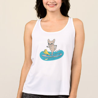 Frenchie doing yoga on stand-up paddle board tank top