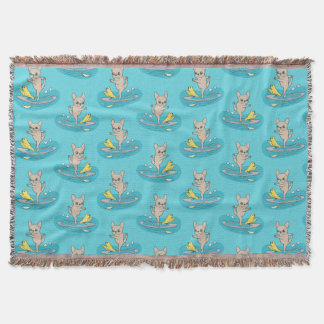 Frenchie doing yoga on stand-up paddle board throw blanket