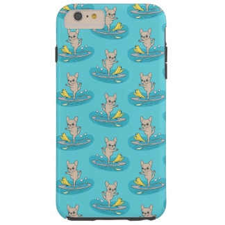 Frenchie doing yoga on stand-up paddle board tough iPhone 6 plus case