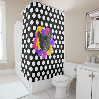 Frenchie Dots and Pansies Shower Curtain