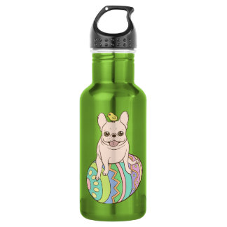 Frenchie & Easter Chick on Colorful Easter Egg 532 Ml Water Bottle