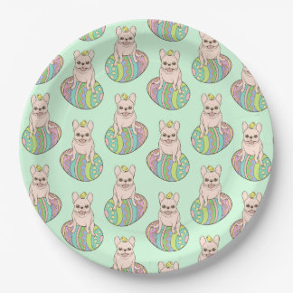 Frenchie & Easter Chick on Colorful Easter Egg 9 Inch Paper Plate