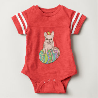 Frenchie & Easter Chick on Colorful Easter Egg Baby Bodysuit