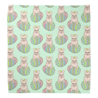 Frenchie & Easter Chick on Colorful Easter Egg Bandana