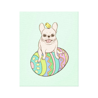 Frenchie & Easter Chick on Colorful Easter Egg Canvas Print