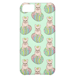 Frenchie & Easter Chick on Colorful Easter Egg Case For iPhone 5C
