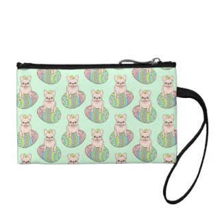 Frenchie & Easter Chick on Colorful Easter Egg Coin Wallets