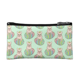 Frenchie & Easter Chick on Colorful Easter Egg Cosmetic Bag