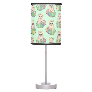 Frenchie & Easter Chick on Colorful Easter Egg Desk Lamps