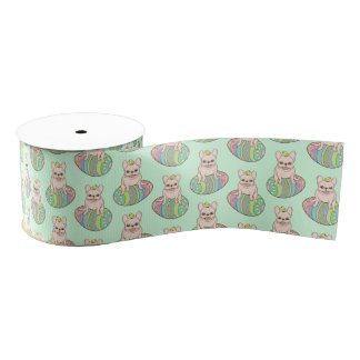 Frenchie & Easter Chick on Colorful Easter Egg Grosgrain Ribbon