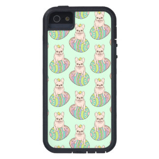 Frenchie & Easter Chick on Colorful Easter Egg iPhone 5 Case