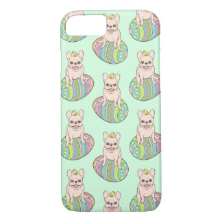 Frenchie & Easter Chick on Colorful Easter Egg iPhone 8/7 Case