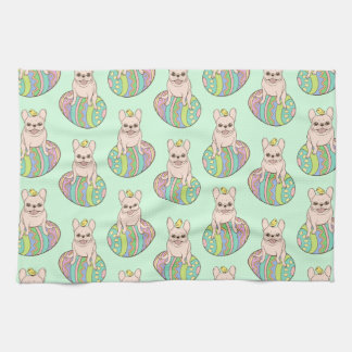 Frenchie & Easter Chick on Colorful Easter Egg Kitchen Towel