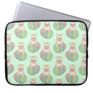 Frenchie & Easter Chick on Colorful Easter Egg Laptop Sleeve
