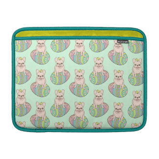 Frenchie & Easter Chick on Colorful Easter Egg MacBook Sleeve