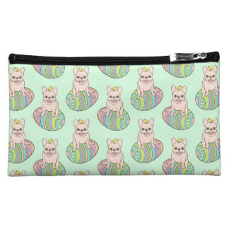Frenchie & Easter Chick on Colorful Easter Egg Makeup Bag
