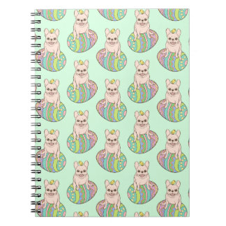Frenchie & Easter Chick on Colorful Easter Egg Note Books