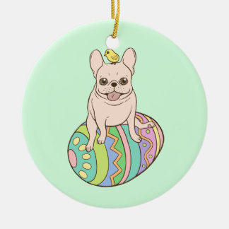Frenchie & Easter Chick on Colorful Easter Egg Round Ceramic Ornament
