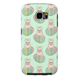 Frenchie & Easter Chick on Colorful Easter Egg Samsung Galaxy S6 Cases