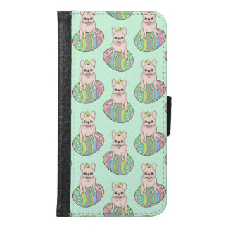 Frenchie & Easter Chick on Colorful Easter Egg Samsung Galaxy S6 Wallet Case