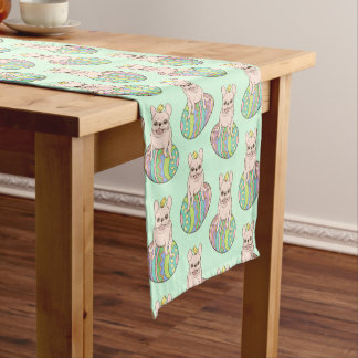Frenchie & Easter Chick on Colorful Easter Egg Short Table Runner