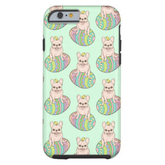 Frenchie & Easter Chick on Colorful Easter Egg Tough iPhone 6 Case
