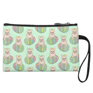 Frenchie & Easter Chick on Colorful Easter Egg Wristlet Clutch