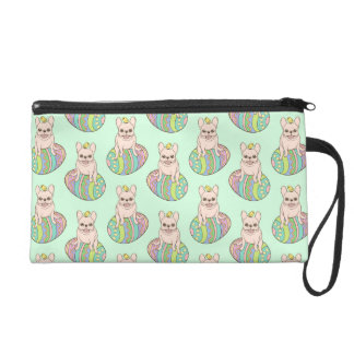 Frenchie & Easter Chick on Colorful Easter Egg Wristlets