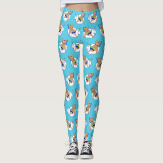 Frenchie enjoys summer on unicorn pool float leggings