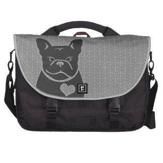FRENCHIE FLEUR DE LIS Charcoal Grey Laptop Commuter Bag