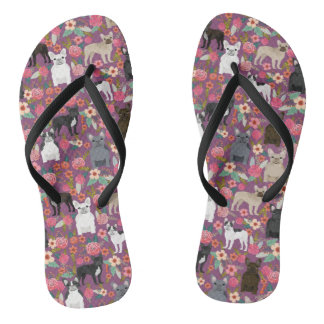 Frenchie Floral Shoes - french bulldog sneakers Flip Flops