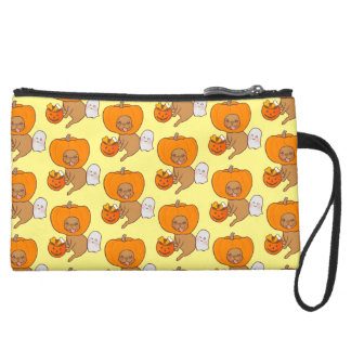 Frenchie in costume for Halloween party Wristlet Clutch