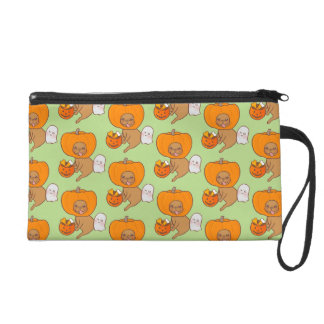 Frenchie in costume for Halloween party Wristlet Purse