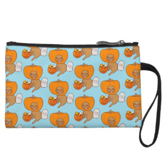 Frenchie in costume for Halloween party Wristlet Purses