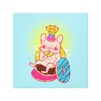 Frenchie is The King of Doughnuts Canvas Print