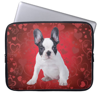 Frenchie love puppy laptop computer sleeve