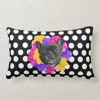 Frenchie Pansies Dots Pillow
