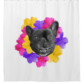 Frenchie Pansies Shower Curtain