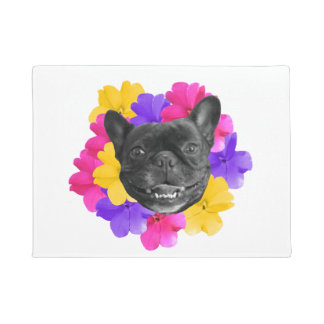 Frenchie Pansy Door Mat