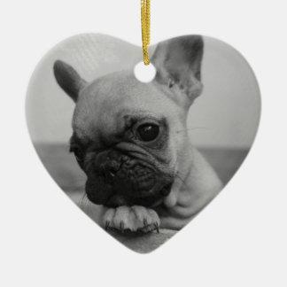 Frenchie puppy ceramic ornament