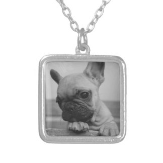 Frenchie puppy silver plated necklace