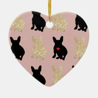 Frenchie Silhouette Pattern Ceramic Ornament