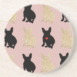 Frenchie Silhouette Pattern Coaster