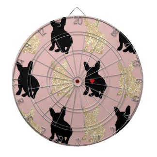 Frenchie Silhouette Pattern Dartboard