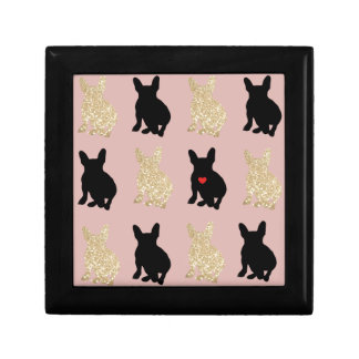 Frenchie Silhouette Pattern Gift Box