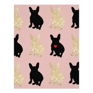 Frenchie Silhouette Pattern Letterhead