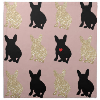Frenchie Silhouette Pattern Napkin